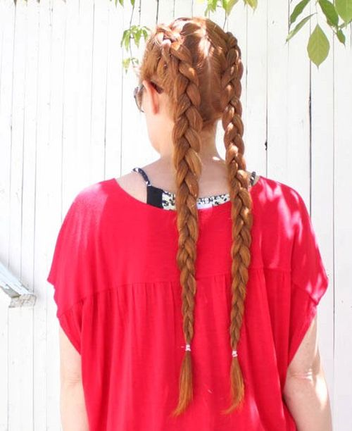long two french braids