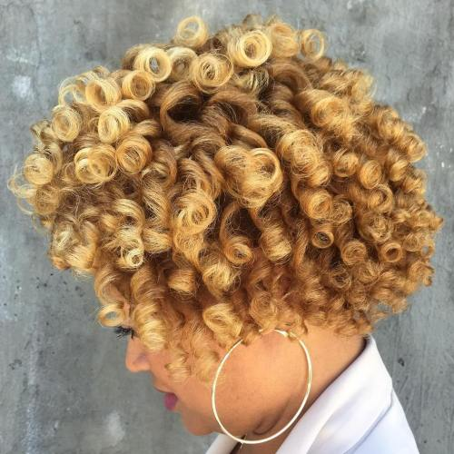 African American Short Curly Blonde Hairstyle