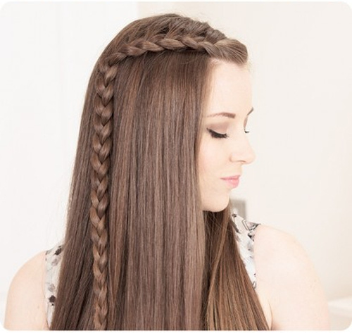 beautiful downdo with a side braided accent