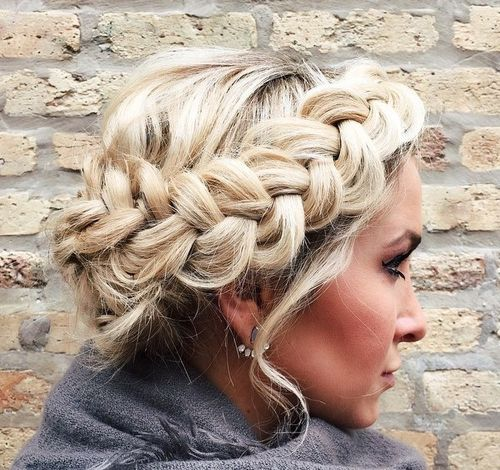 messy blonde crown braid updo