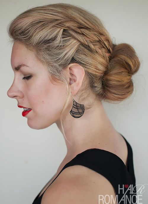 low bun with two braids