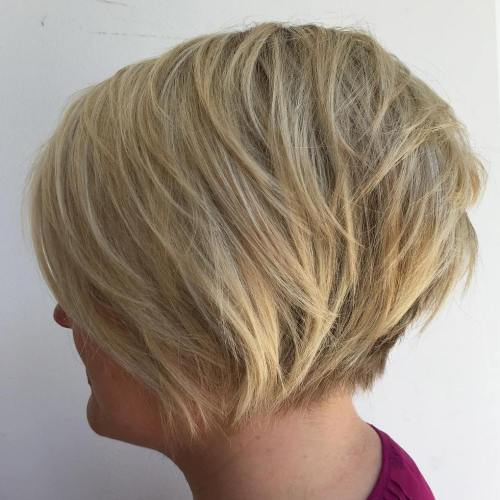 Short Ash Blonde Bob With Layers