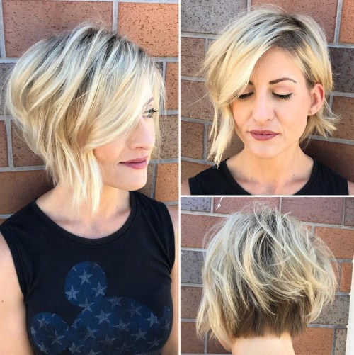 Short Messy Stacked Bob