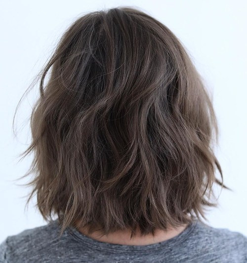Casual Feathered Brunette Bob
