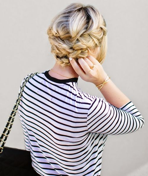 Cute French braided updo
