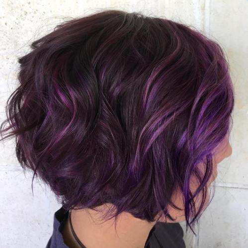 Brunette Bob With Purple Balayage
