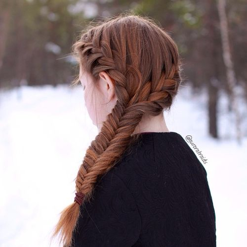 side fishtail with two crown braids