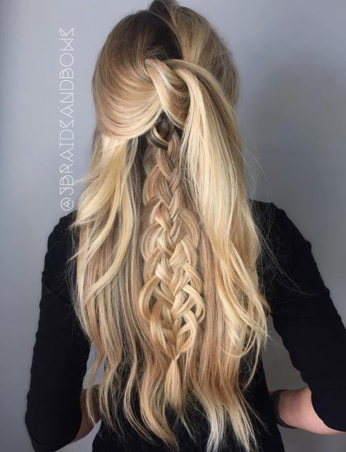 Long Knotted Half Updo With A Braid