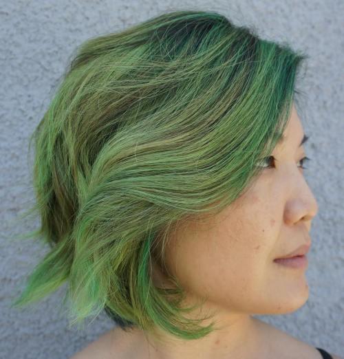 Pastel Green Wavy Bob
