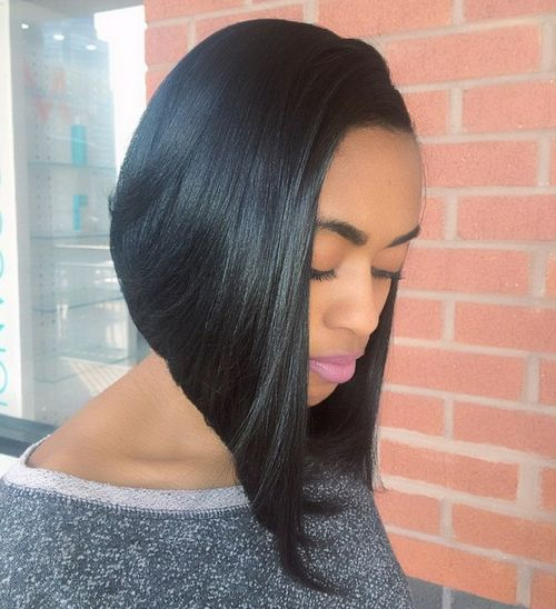 steeply angled black bob