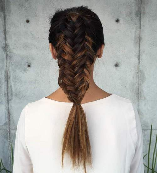 fishtailed pony hairstyle for long hair