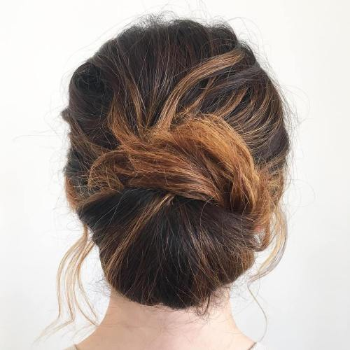 40 updos for long hair easy and cute updos for 2017 casual chignon updo pmusecretfo Images