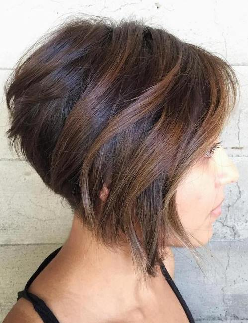 Stacked Brown Bob With Balayage Highlights