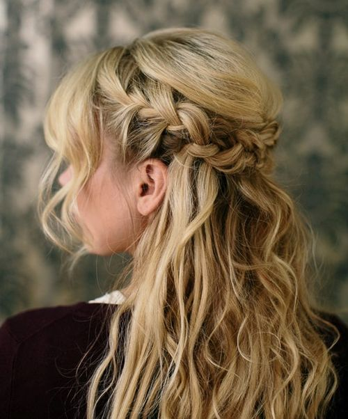 Messy half up French braid hairstyle