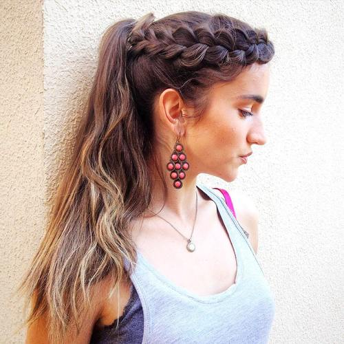 lacy crown braid and ponytail hairstyle