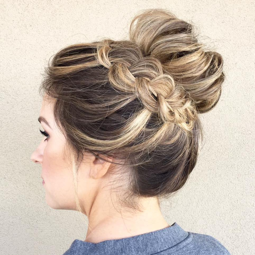 Messy Bun With A Braid Around