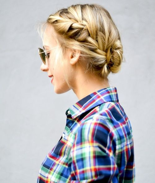 casual two french braids updo hairstyle
