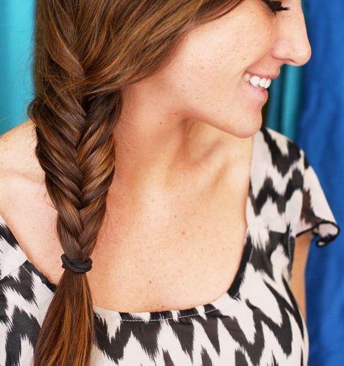 side fishtail for long hair