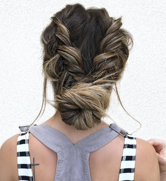 Attractive Low Bun With Two Braids Updo