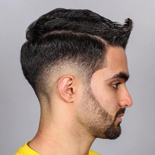 Side Part Taper With Burst Fade