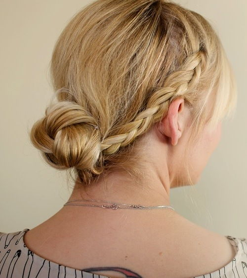 easy braided hairstyle with a low knot