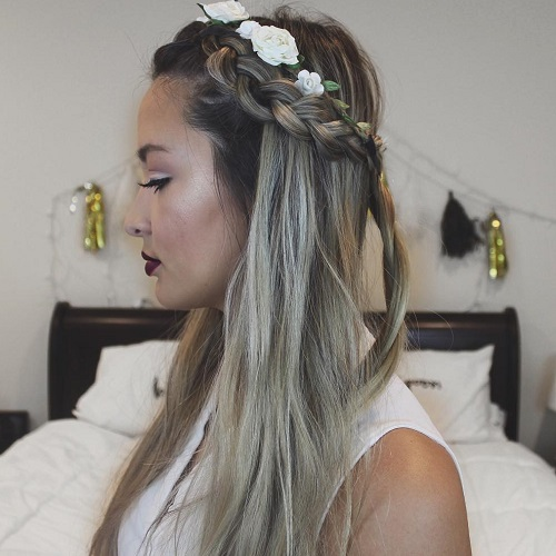 Half Up Braided Hairstyle With Flowers