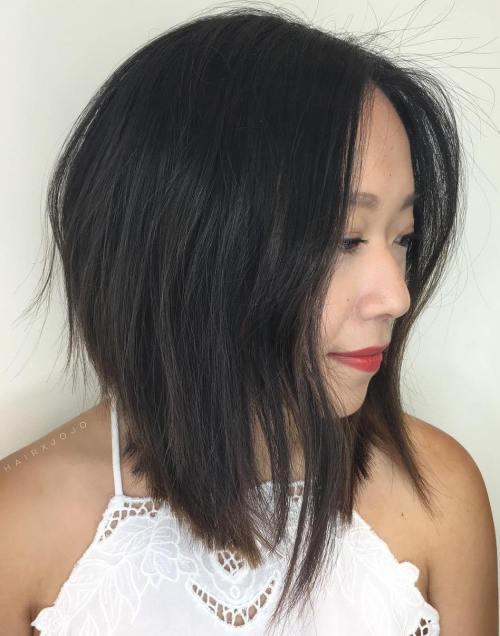 Asian Layered Long Bob Cut