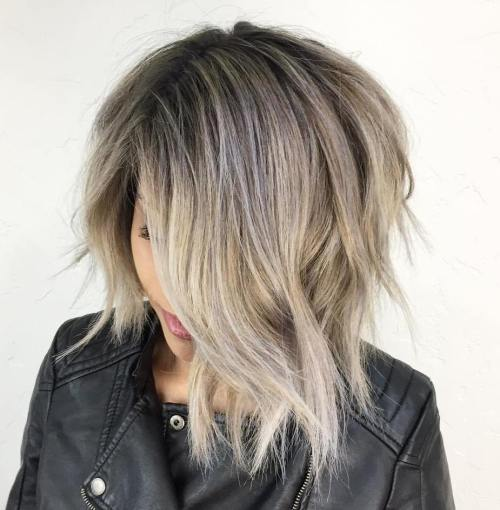 Blonde Balayage Choppy Asymmetrical Bob
