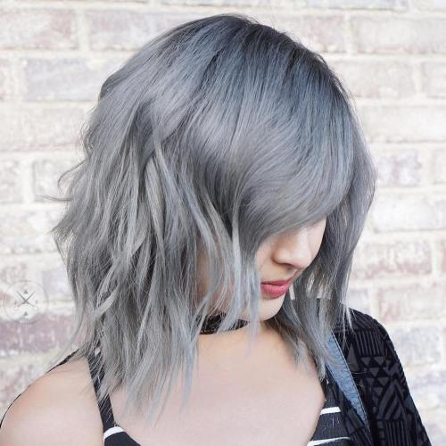 Choppy Angled Gray Bob