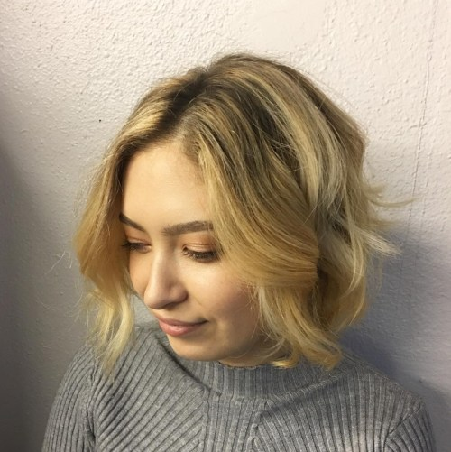 Warm Blonde Curled Bob Hairstyle