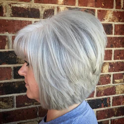 40+ Gray Layered Bob With Bangs