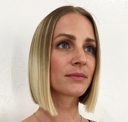 blonde blunt centre-parted bob