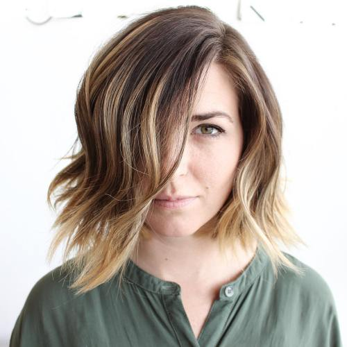 Choppy Brown Blonde Balayage Bob
