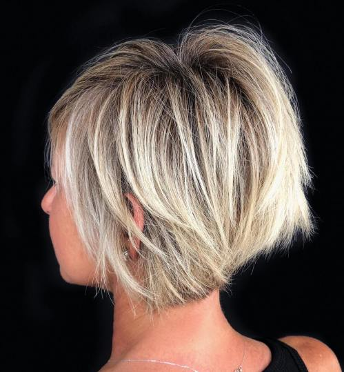 Choppy Stacked Blonde Balayage Bob