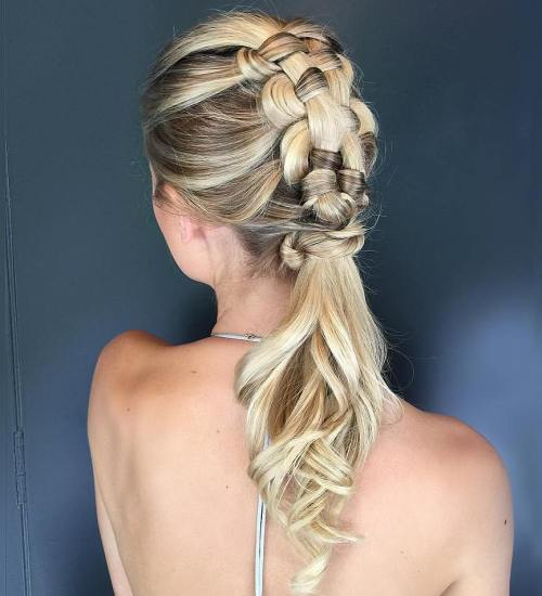 Mohawk Braid With Low Ponytail