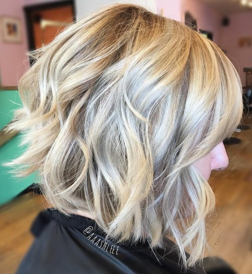 Choppy Wavy Blonde Bob