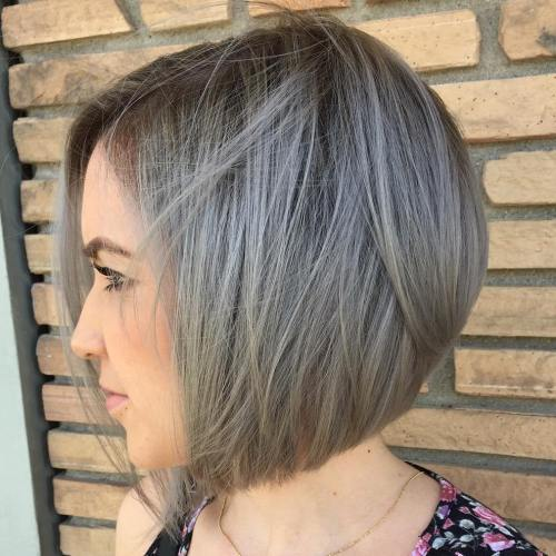 Gray Bob With Root Fade