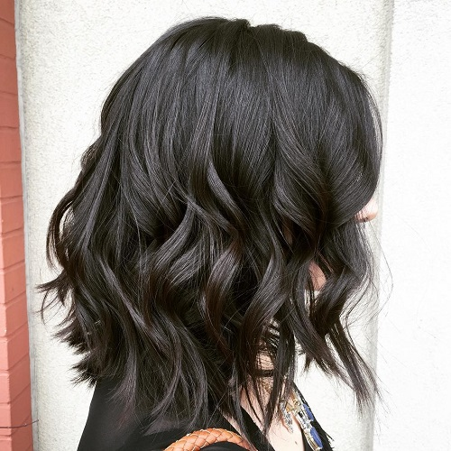 Long Wavy Brunette Bob Hairstyle