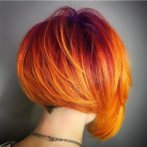 Orange And Yellow Asymmetrical Bob