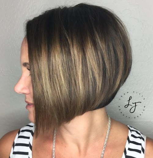 Angled Brown Bob With Subtle Balayage