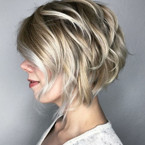 Blonde Layered Bob with Silver Highlights