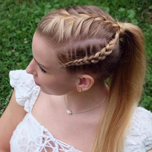 Ponytail With Three Braids