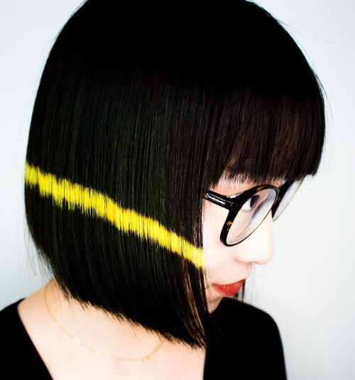 Black Blunt Asian Bob With Bangs