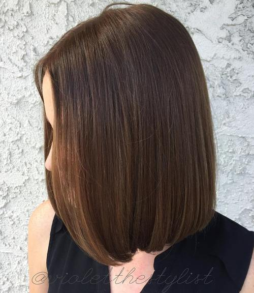 brown blunt long bob