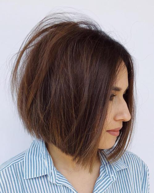 Centre-Parted Tousled Brown Bob