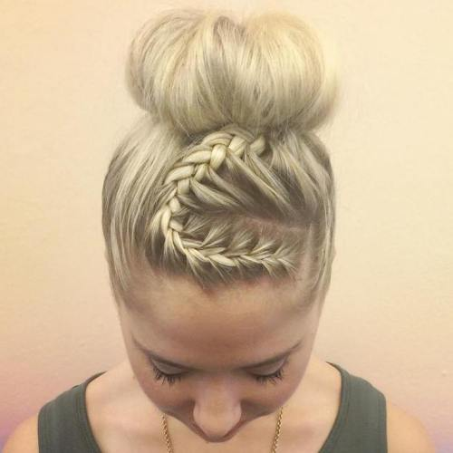 High Bun With A Curvy Braid