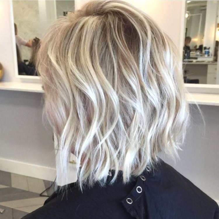 Blonde Textured Choppy Lob Haircut