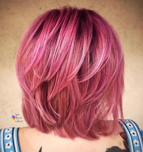 Pastel Pink Layered Bob