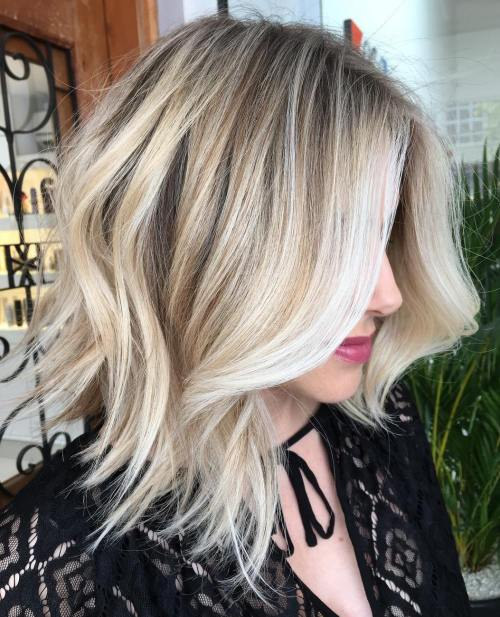 Wavy Choppy Blonde Balayage Lob