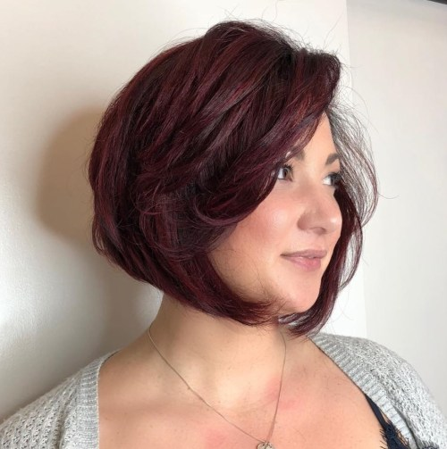 Angled Burgundy Bob With Bangs